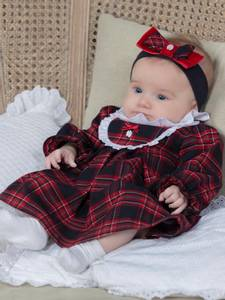 Bilde av Patachou Baby Julekjole med krage, Tartan